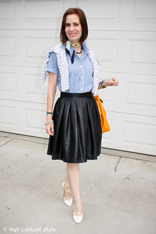 Spring trend gingham shirt with full leather skirt