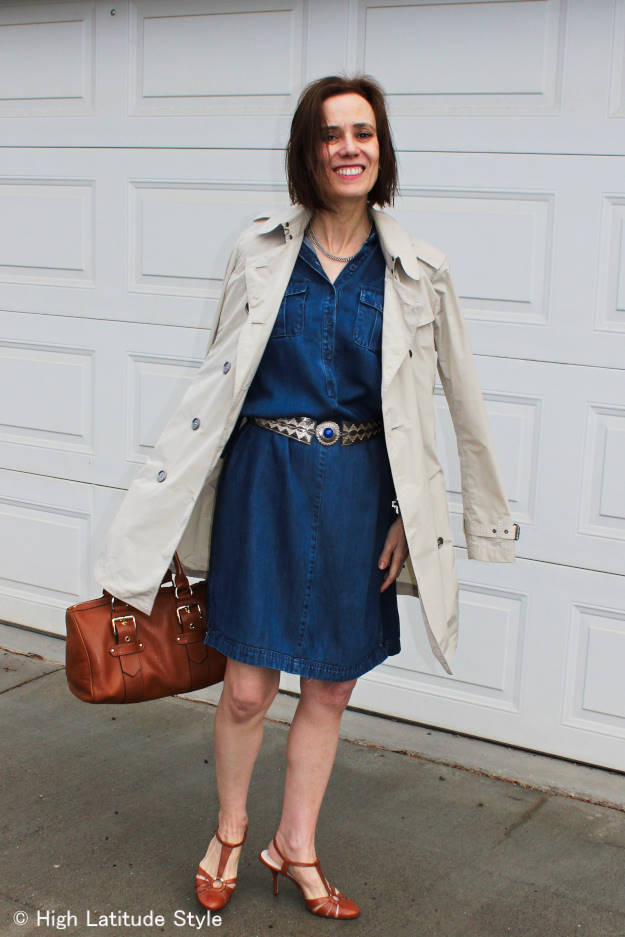 #denimDress #statementBag #ethnicBelt #HighLatitudeStyle #trench #BurberryBritTrenchCoat