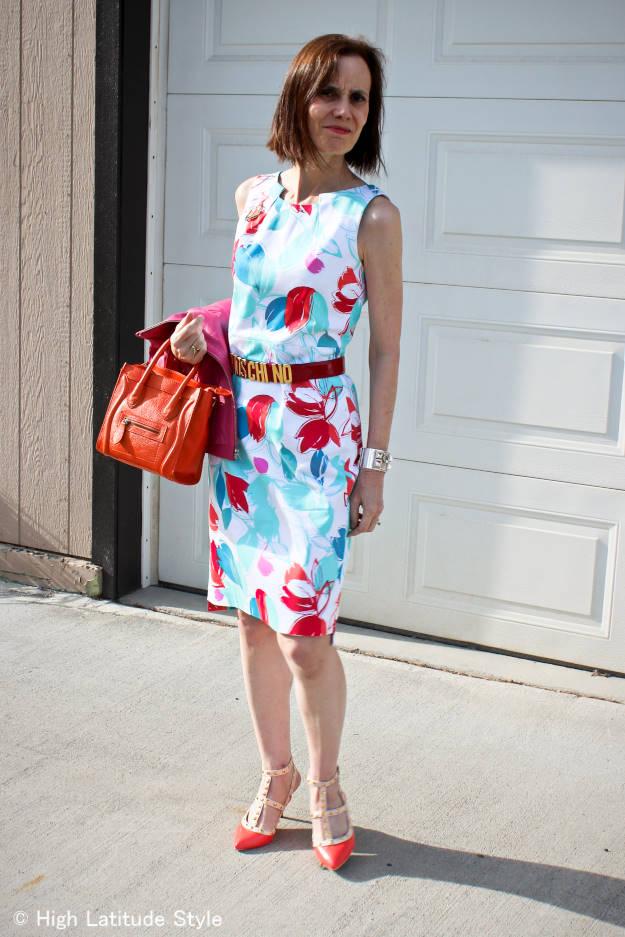 #fashionover50 woman in sheath
