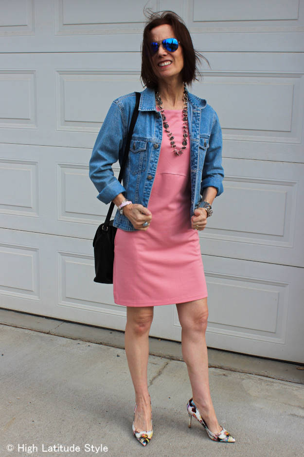 #LookbookStore #fashionover40 woman in baby pink dress with denim jacket