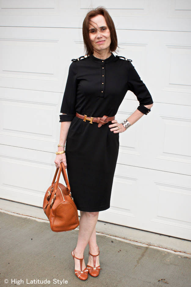 #fashionover50 woman in Victoria Victoria Beckham dress