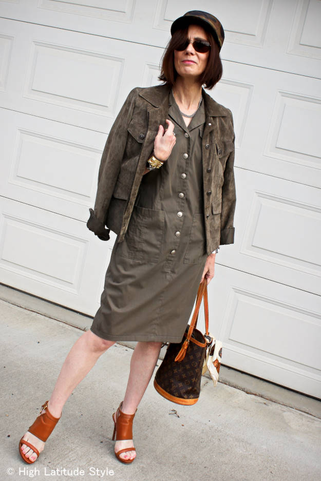 #fashionover40 mature women wearing a military inspired shirt dress with utility jacket