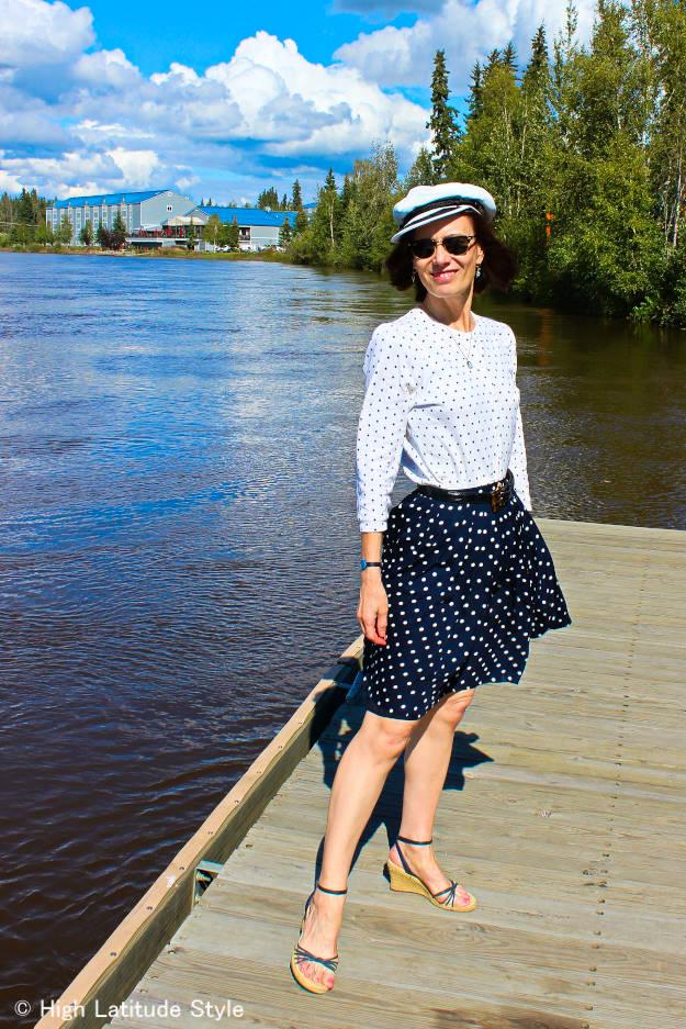 fashion blogger in polka dot skirt and cardigan