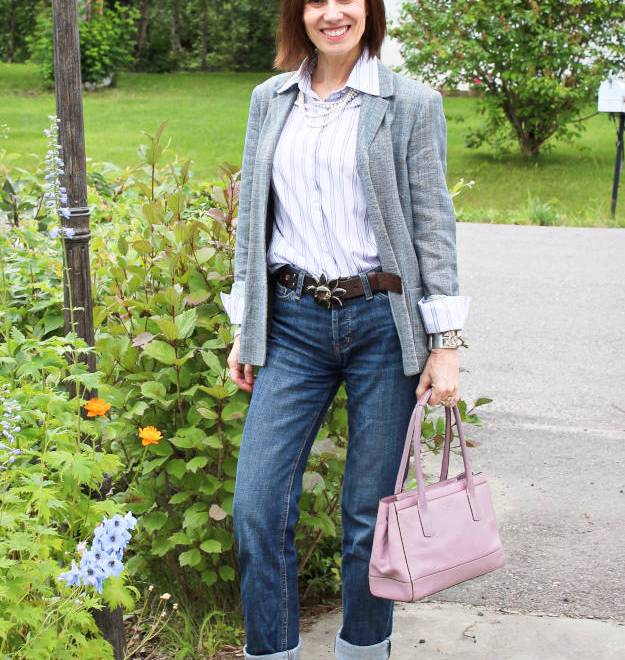 #fashionover40 #fashionover50 Ageless Style Denim - example boyfriends worn business casual - Ageless Style is a weekly series on Wednesday @ High Latitude Style @ http://www.highlatitudestyle.com