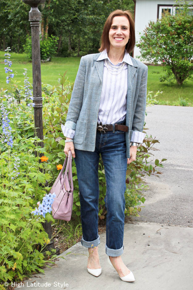 mature woman wearing BF jeans
