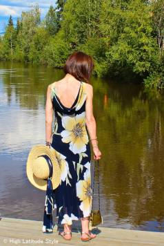 influencer in maxi dress with straw hat and metal cross body designer bag