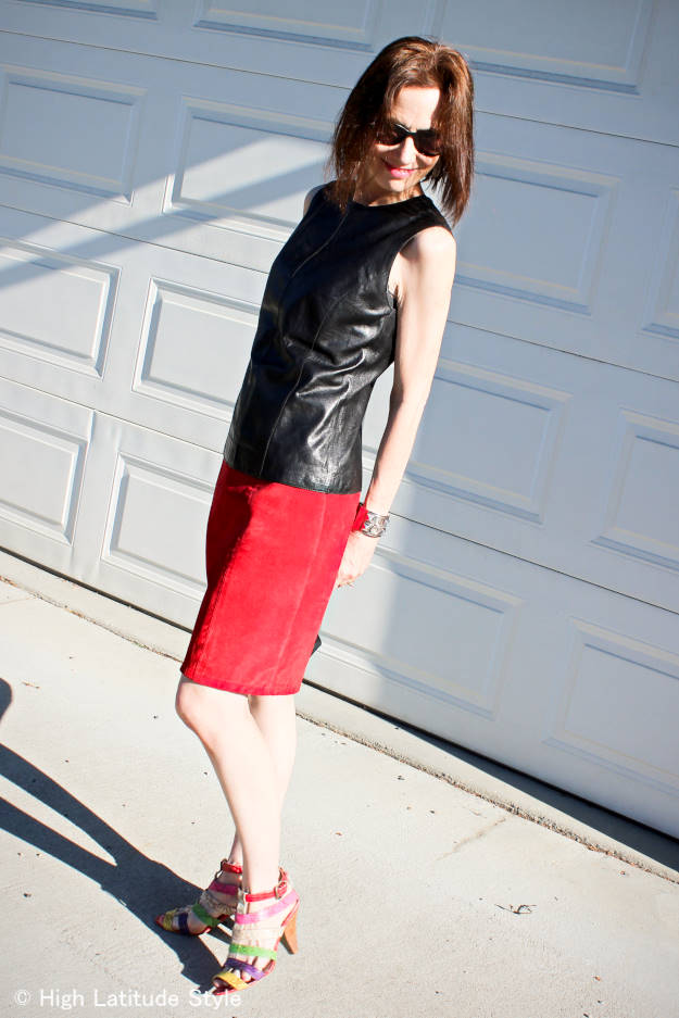 midlife blogger in posh chic leather and suede outfit