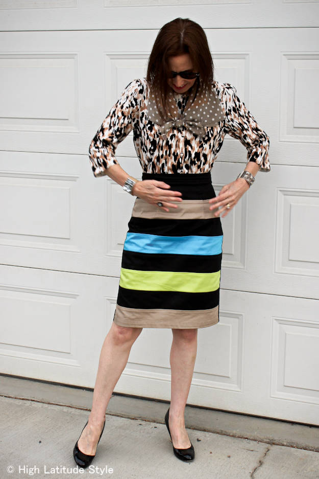 #over50fashion woman in work outfit with mixed prints and pattern