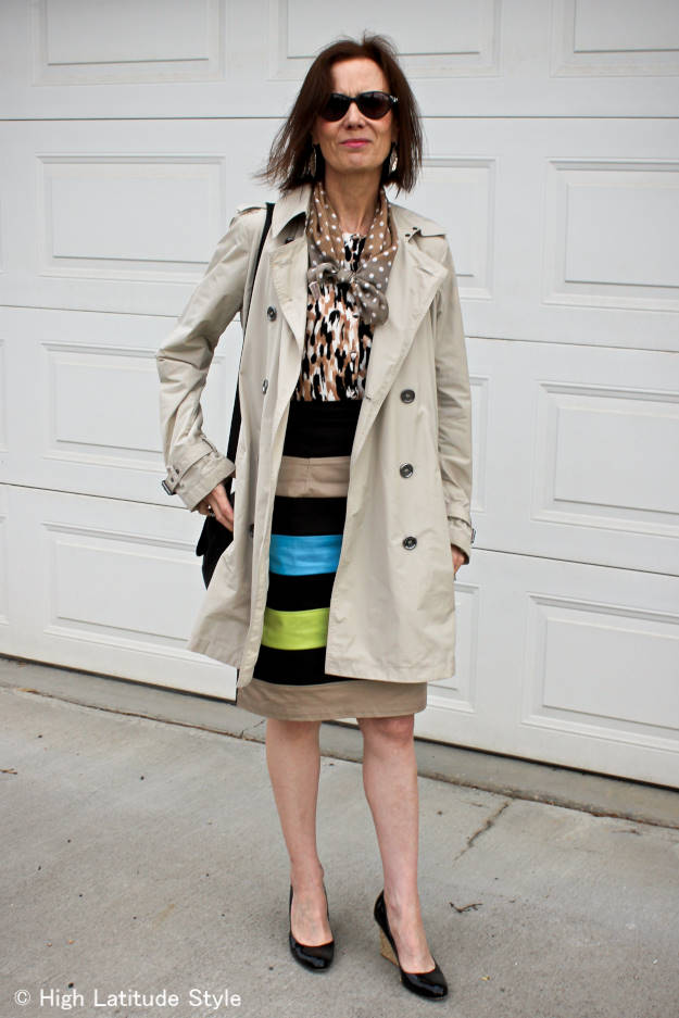 mature woman in classic trench coat