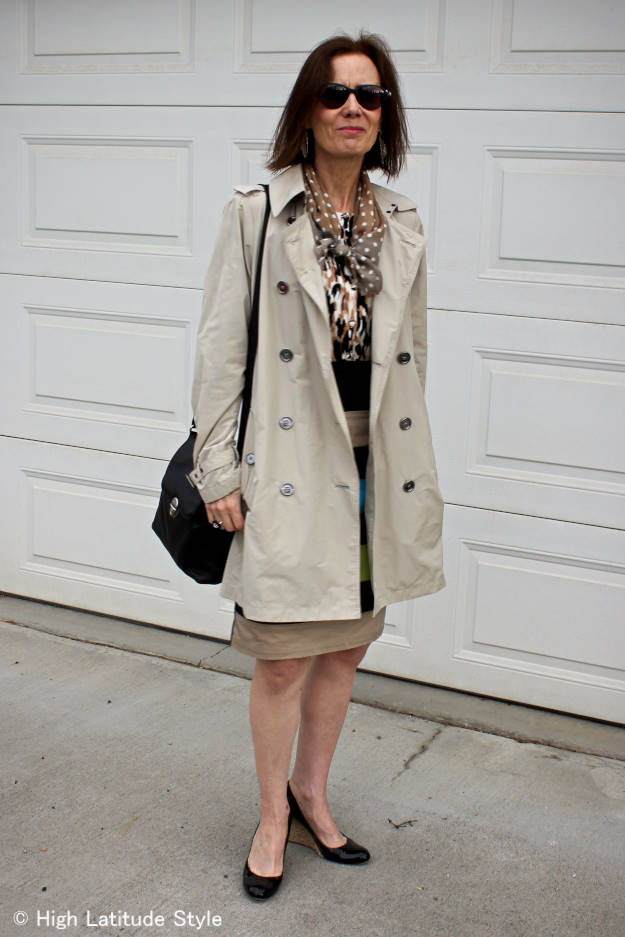 #over40fashion woman dressed for a rainy summer day