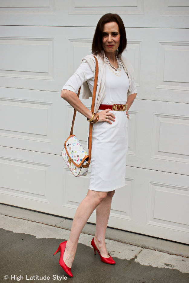 older woman in a body conscious dress styled for fall