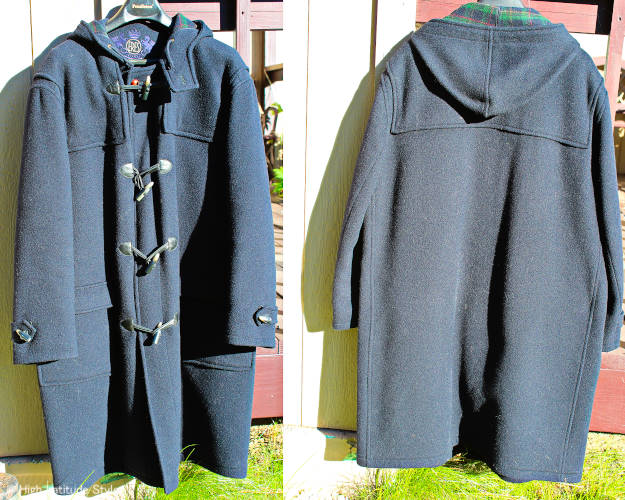Modern duffel coat with flap pockets front and back view