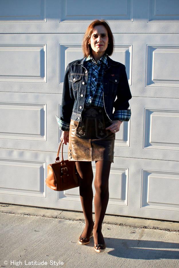 Alaska street style woman in Bavarian skirt