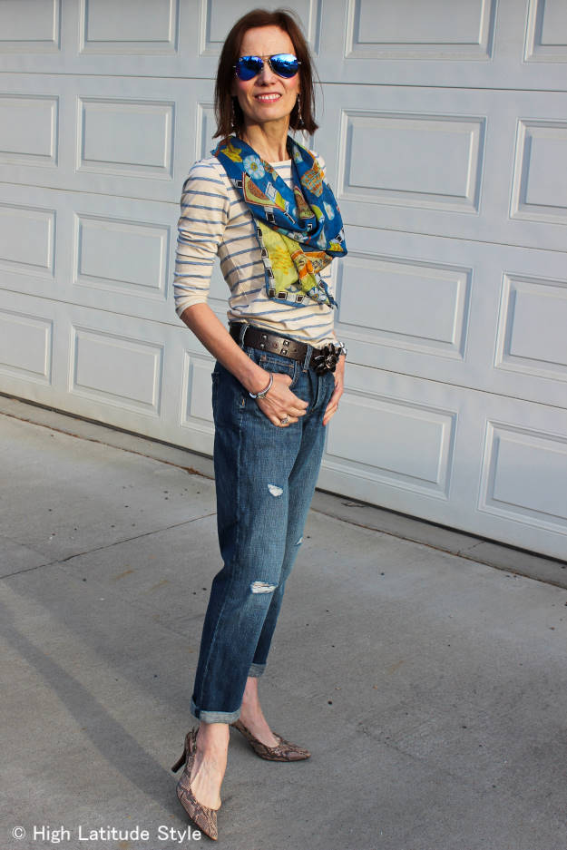 Marine Layer Striped T-shirt accessorized with hand paint silk scarf knotted in the back