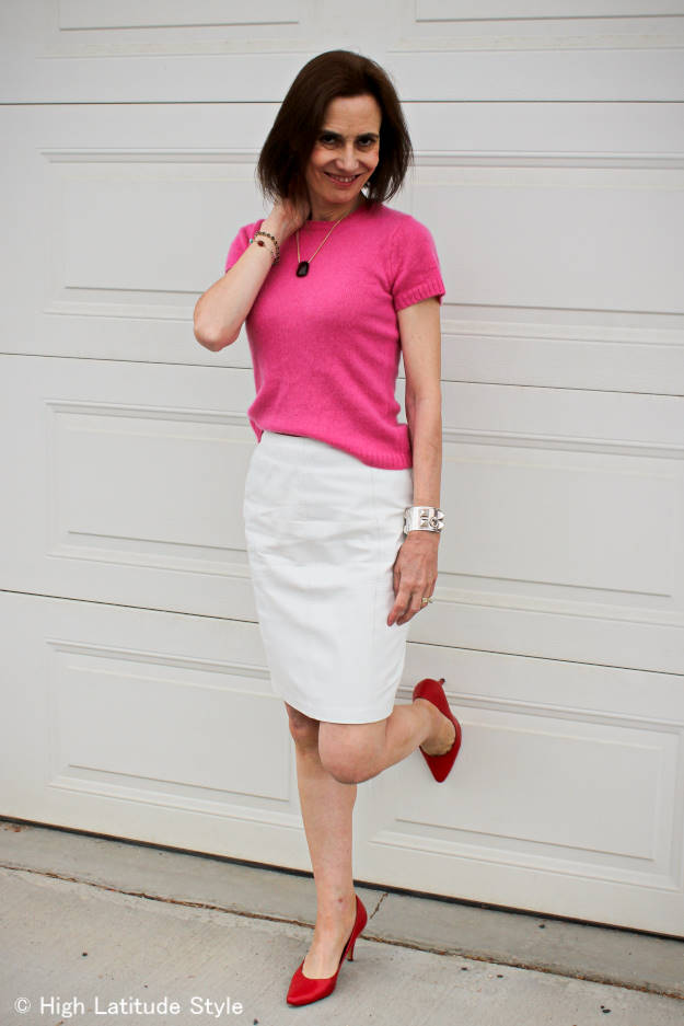 fashion over 40 woman in pencil leather skirt