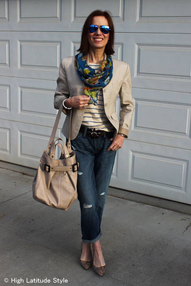 #MarineLayer mature woman wearing a striped T-shirt with BF jeans http://www.highlatitudestyle.com