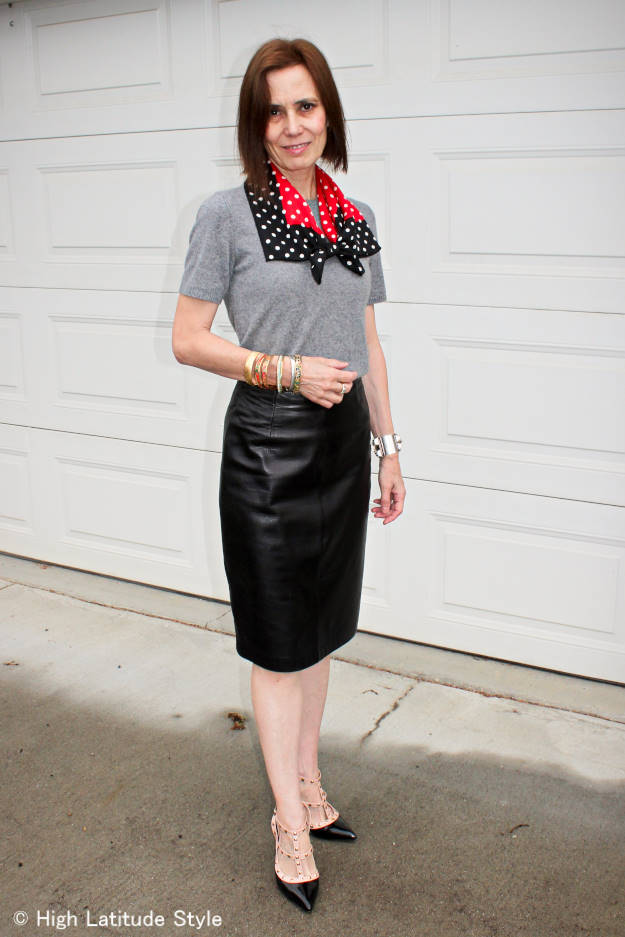work outfit with studded heels