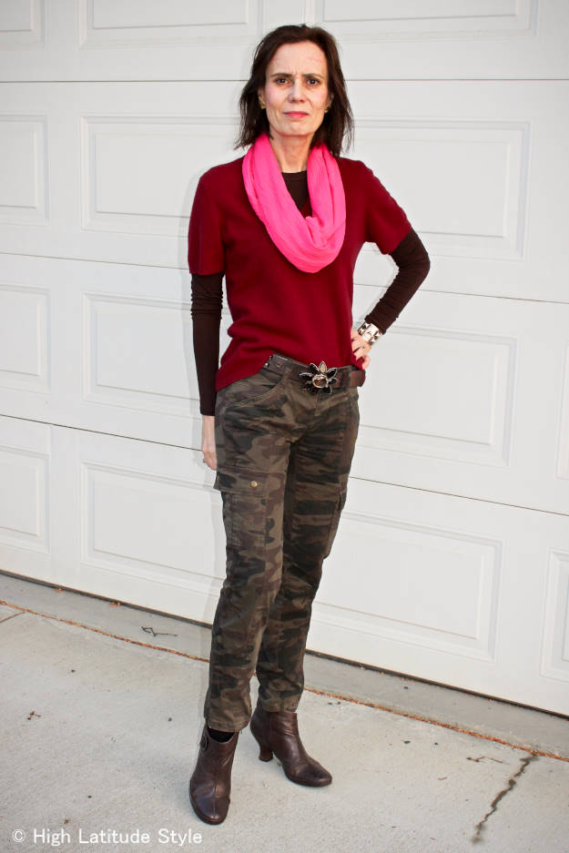 midlife woman in casual look with clutch wrap purse infinity scarf