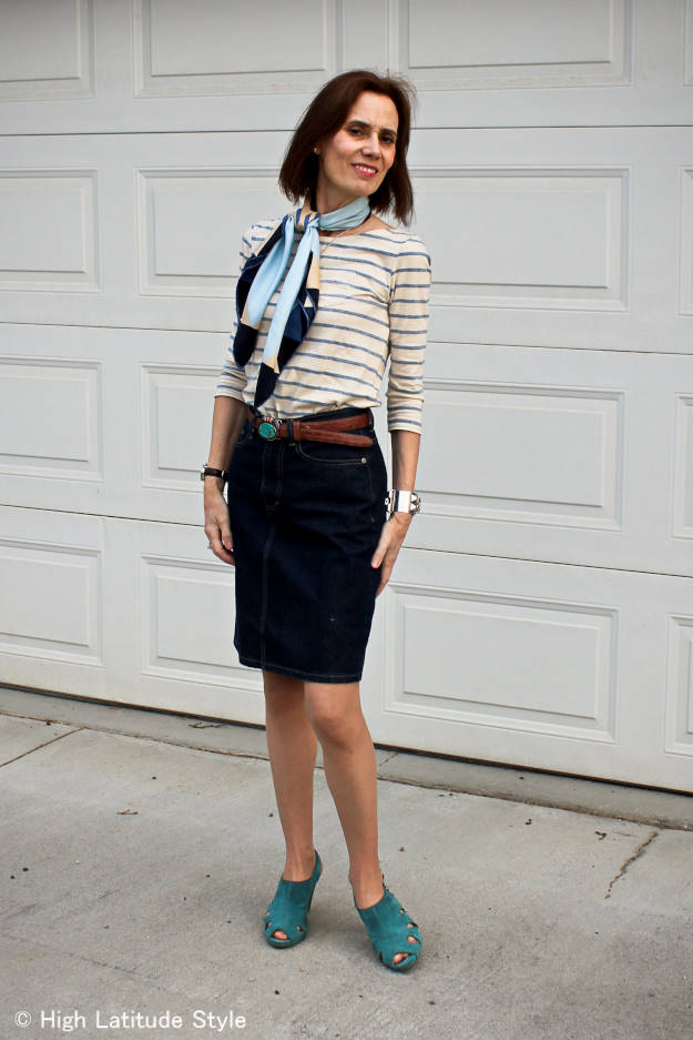 midlife woman in striped T-shirt