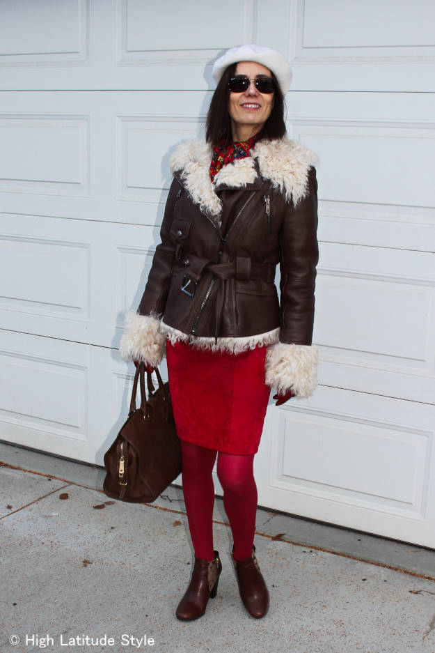 Alaskan fashion blogger in winter outfit