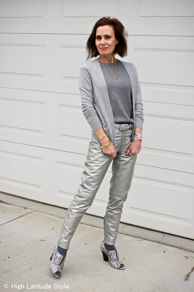#streetstyleover50 woman wearing silver pants for Casual Friday