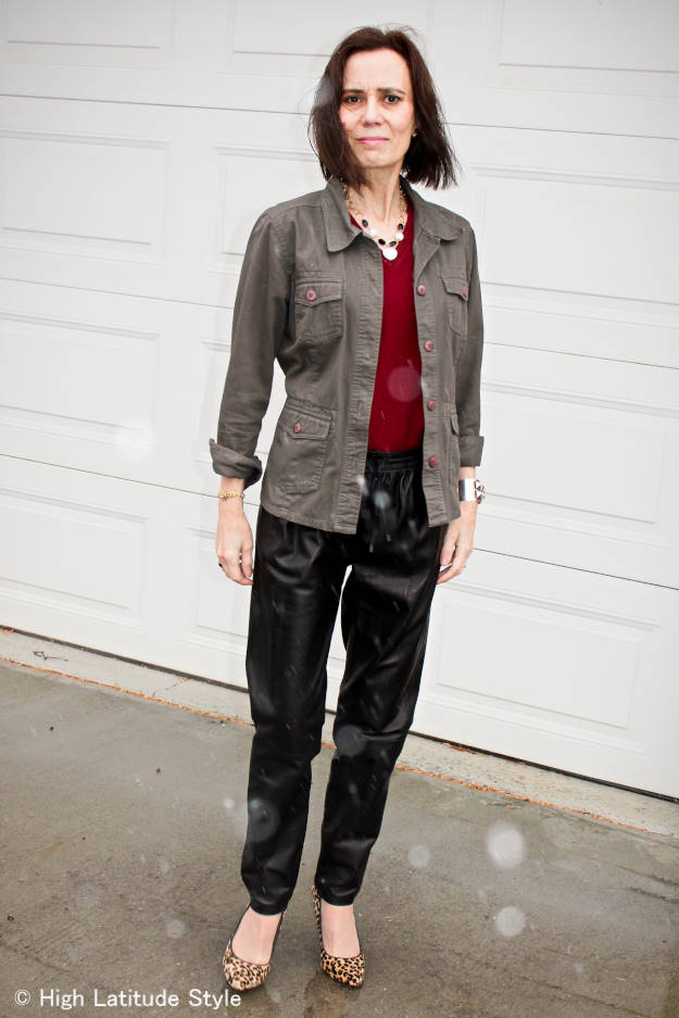 #styleover50 midlife woman layering a jacket over sweater for a lean look
