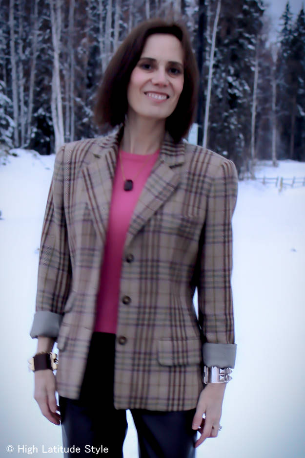 fashion blogger looking professional ins business casual plaid blazer, cashmere sweater necklace work with leather trousers