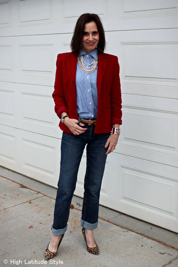 over 40 woman in business casual holiday inspired outfit