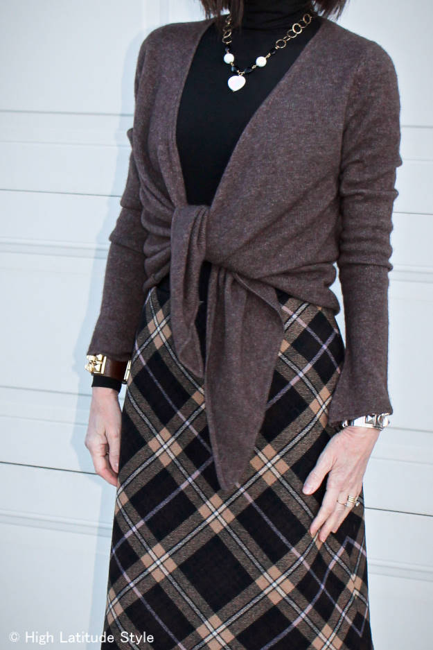 #AlmoJewellery #fashionover50 High Latitude Style wearing an A-line plaid skirt with pink sweater