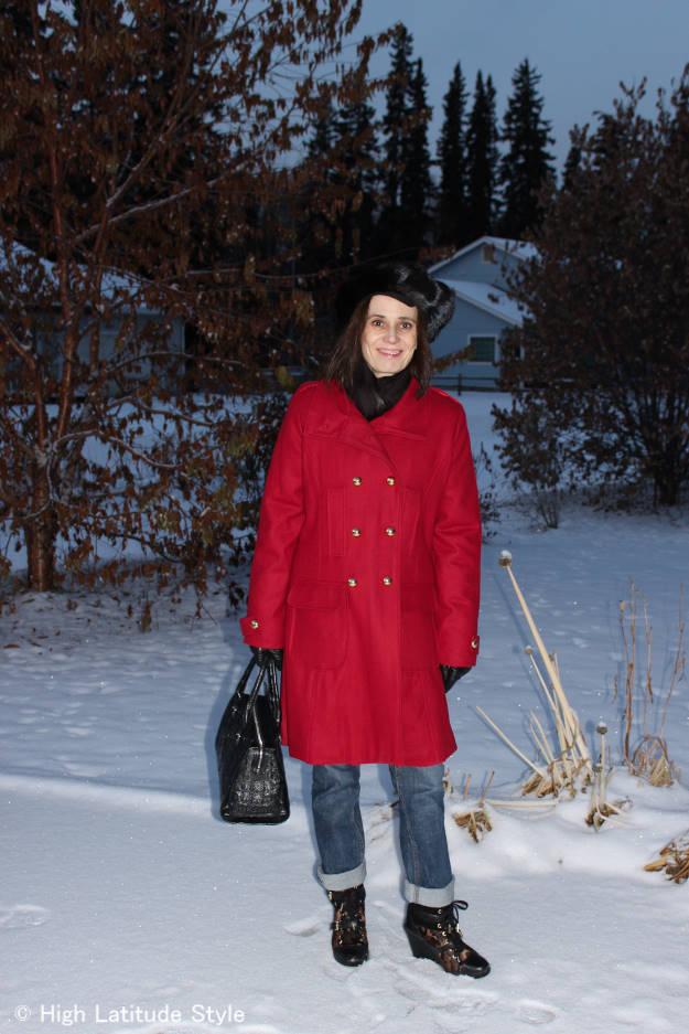#over40fashion Alaskan fashion blogger Nicole in red pea coat with boyfriend jeans