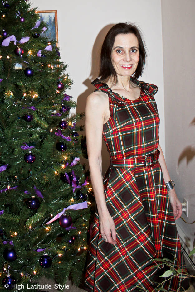 #fashionover50 woman in retro-inspired plaid-dress Christmas dress