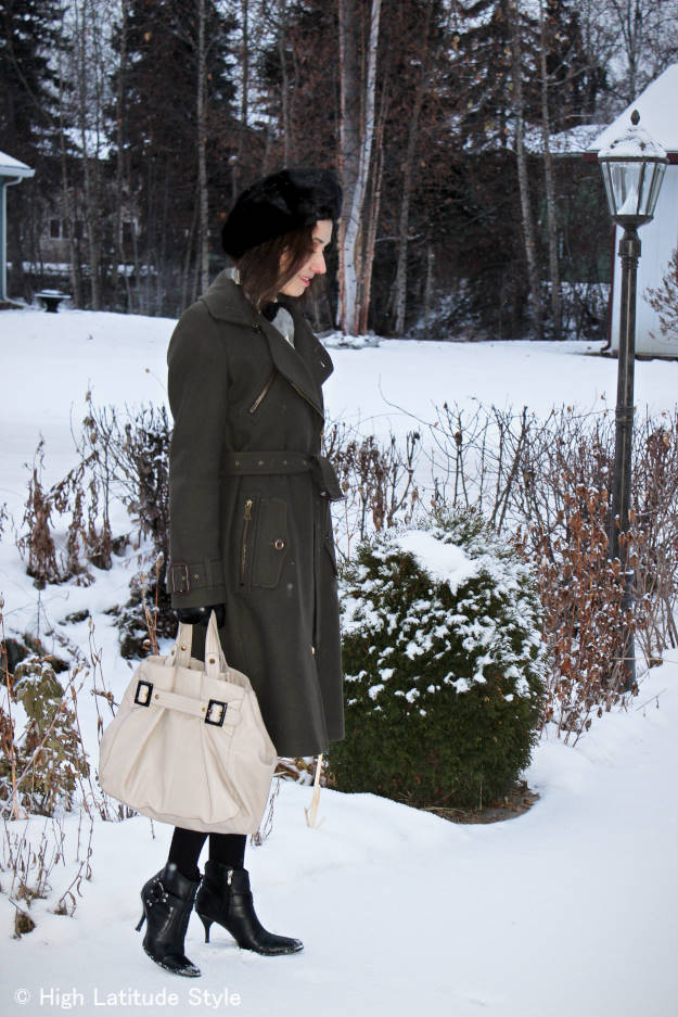 #over40style High Latitude Style blogger wearing streetstyle winter outerwear with chevron scarf