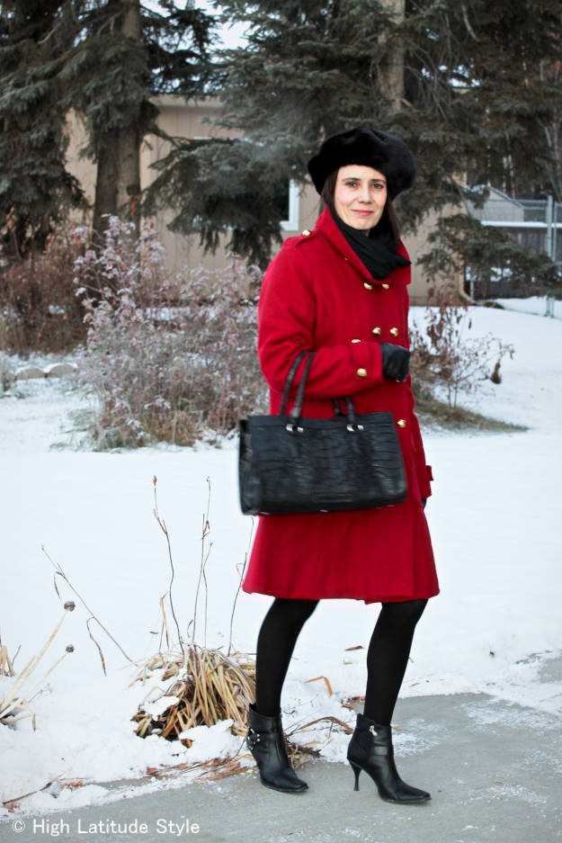 Alaskan woman in in styled winter outerwear