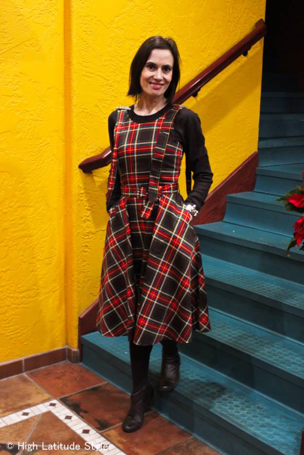 mature Fashion woman wearing a plaid dress