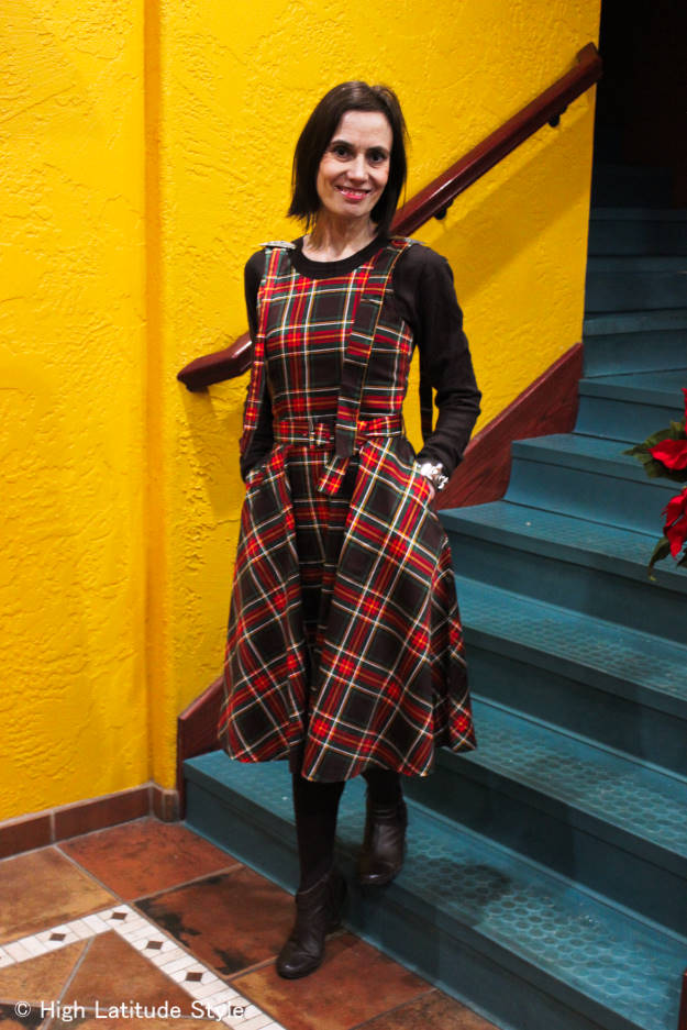 #chicover50 midlife woman in plaid Christmas dress over sweater