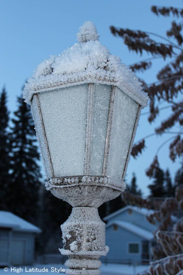 #solarLamp a solar lamp in Alaska showing snow metamorphism hoar