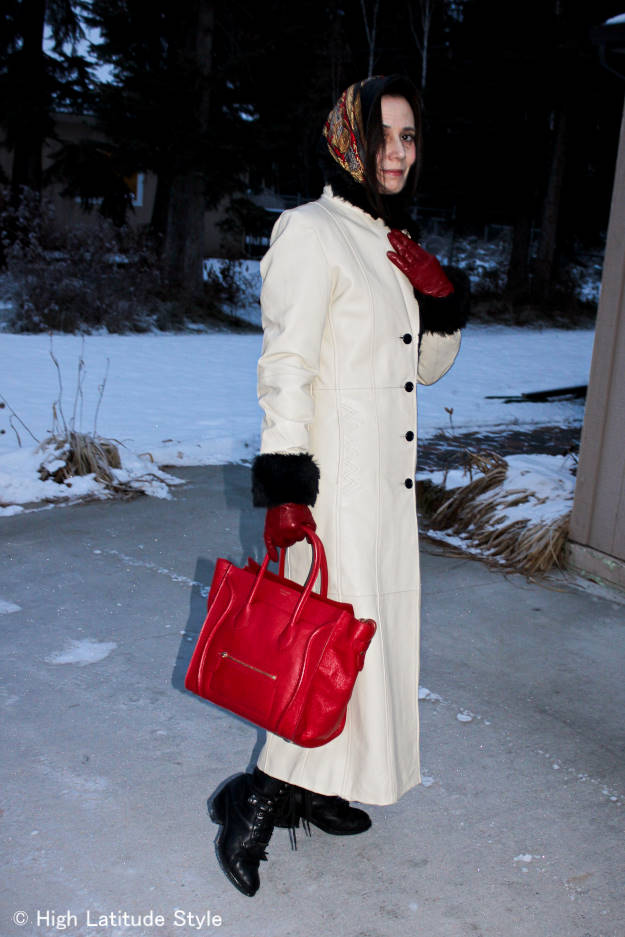 #over50style long leather coat with Celine bag