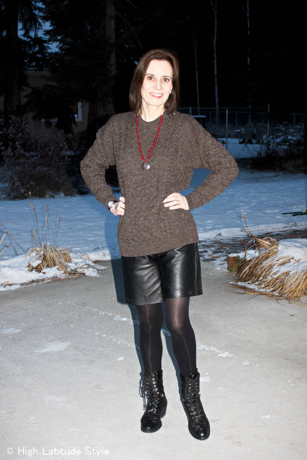 #fashionover50 Alaskan woman in street chic with leather shorts