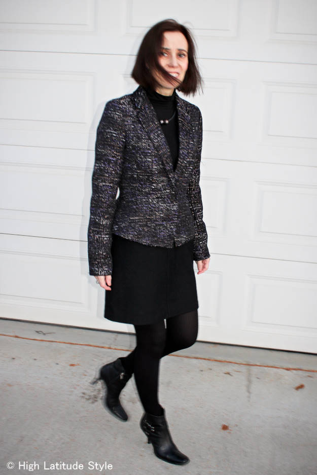 midlife style blogger wearing corporate cocktail holiday party look