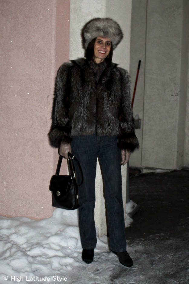 #fashionover50 mature winter outfit with Spring Step comfort shoes styled for the city