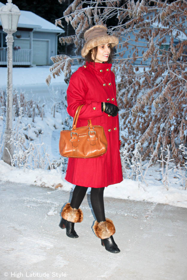 #fashionover50 midlife woman in posh classic pea coat winter look