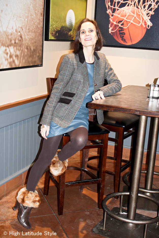 #trendsover40 mildife woman in leather sheath with blazer with tweed blazer