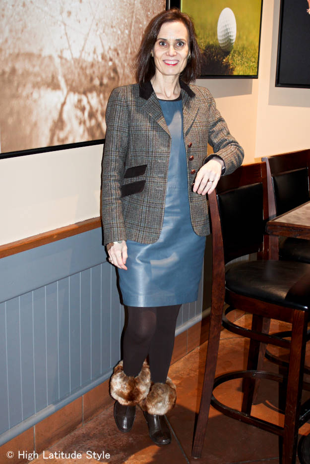 #styleover40 Winter office look with faux fur topped footwear