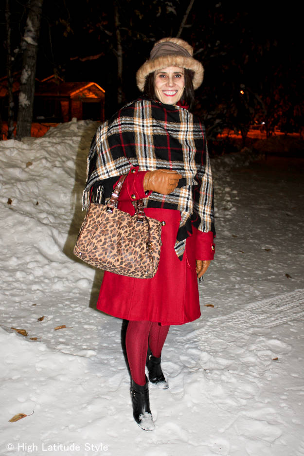 #fashionover50 midlife woman in winter outerwear suitable for visiting the in-laws at Christmas