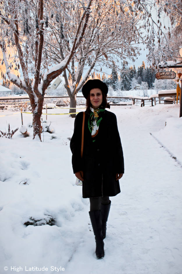 #colorsover40 midlife woman in winter outerwear with shearling and tights