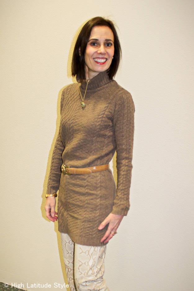 cable knit dress gives an Irish vibe