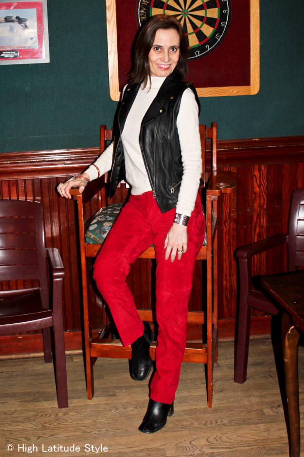 midlife woman in Santa's colors