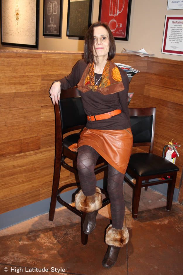 #over40style winter work outfit with patterned tight for mature women photographed in Alaska