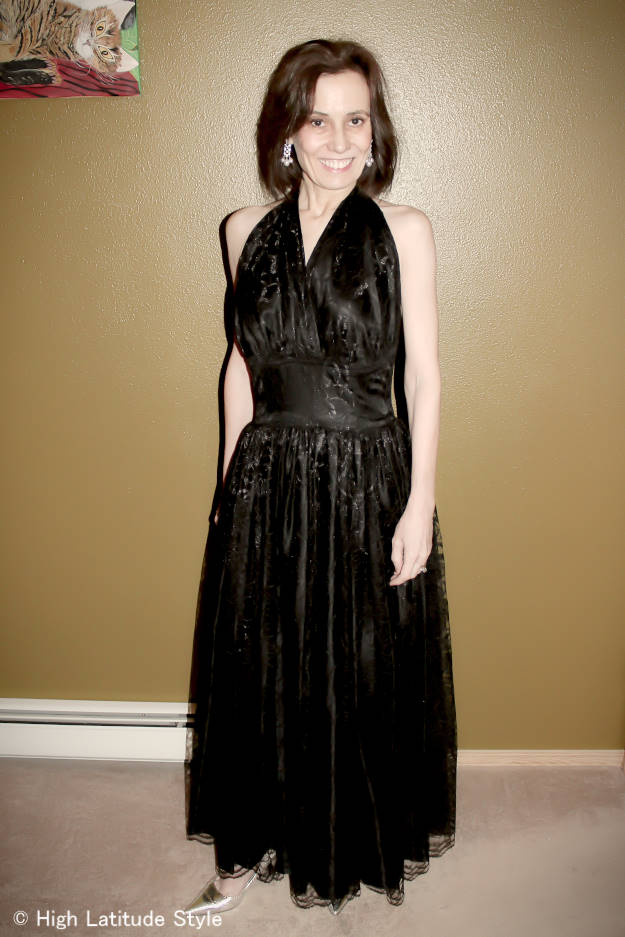 #fashionover40 woman evening gown in black lace for a military ball