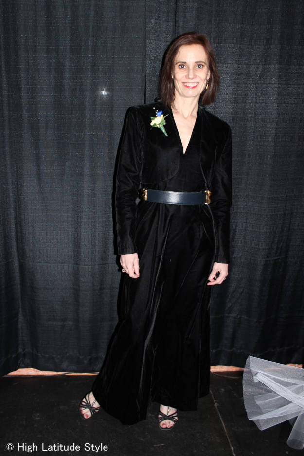 Alaskan in ankle length velvet gown with bolero outfit as guest at cold season nuptial